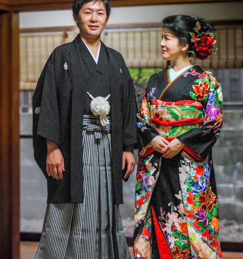 結婚式前撮り引き振袖&男性袴