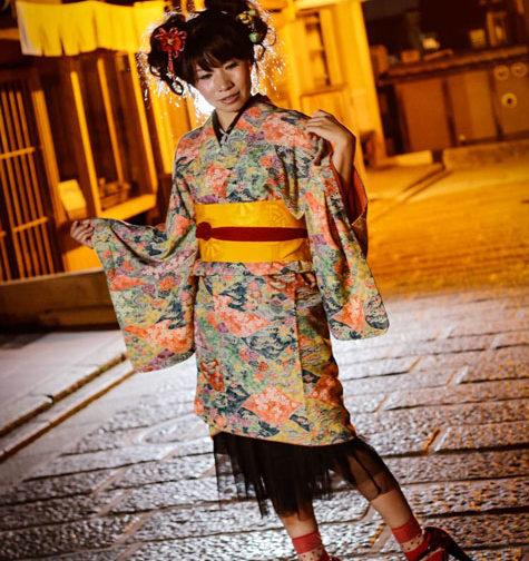 小紋レンタル着付け写真ハイカラアレンジ1
