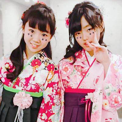 緑紫赤の女の子袴写真