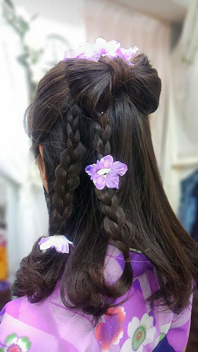 袴矢絣に似合う髪型リボン
