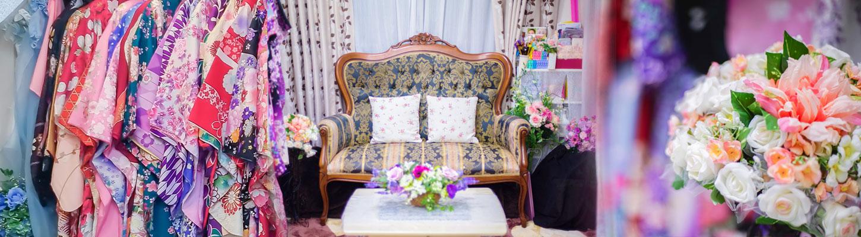 店舗内写真(美容道具、待合スペース、着物衣装)