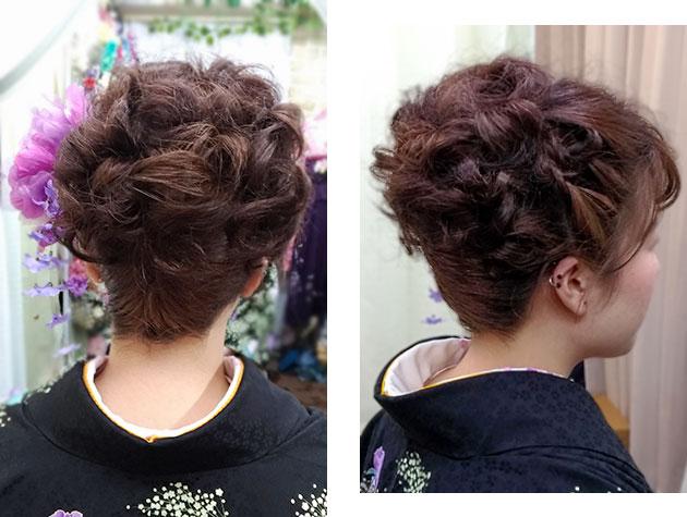 アップヘアの髪型の後ろ側・横側写真