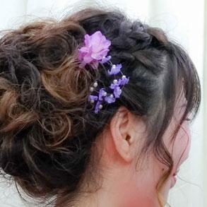 ピンク紫小花の髪飾り