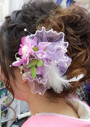 ピンク花とチュール羽のヘッドドレス