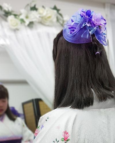 チュール花飾りの和装髪飾り