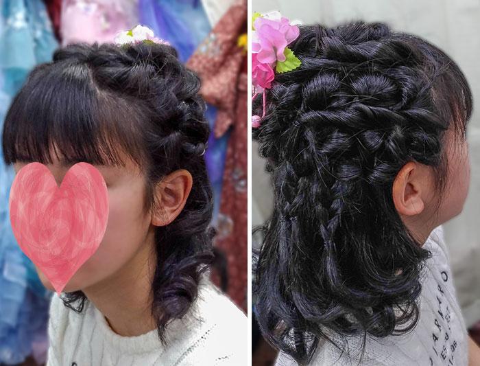 小学生袴の髪型に編み込み