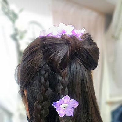 袴ヘアリボン髪