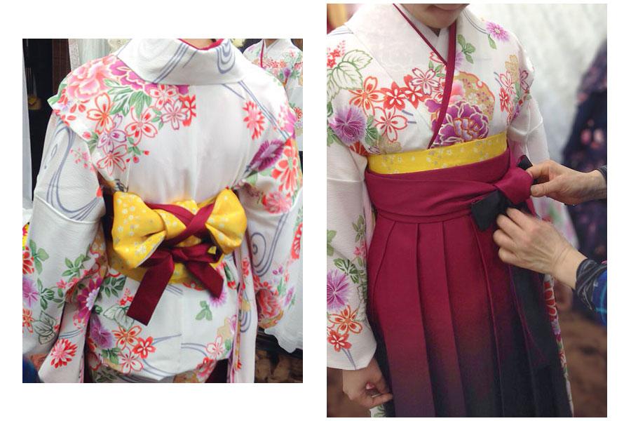 小学生卒業式袴着付け写真