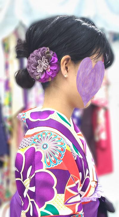 モダン袴・紫着物と髪飾り