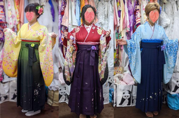 赤・青・黄色袴レンタル写真