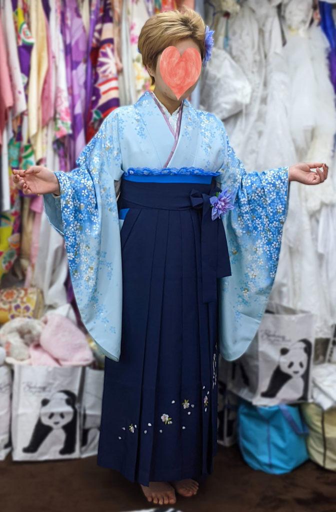 専門学校卒業式の袴レンタル(水色着物写真)