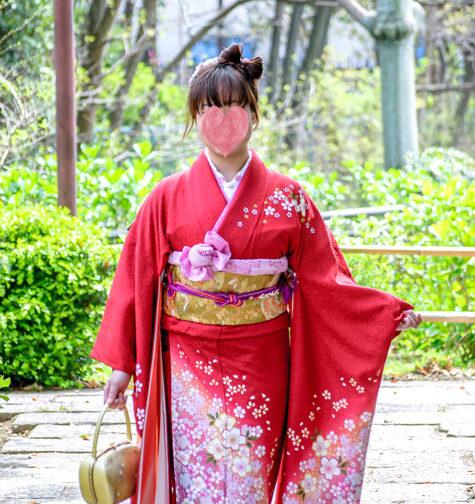 赤振袖に桜吹雪