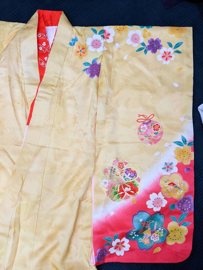七五三黄色着物のデザイン