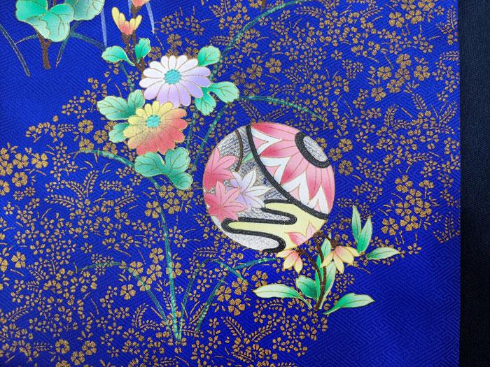金箔押し花柄の着物