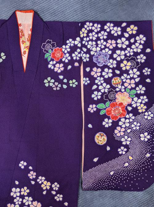 七五三紫の着物