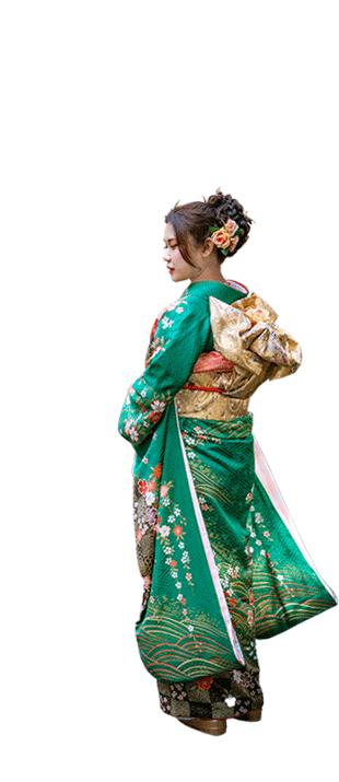 緑振袖を着た女性