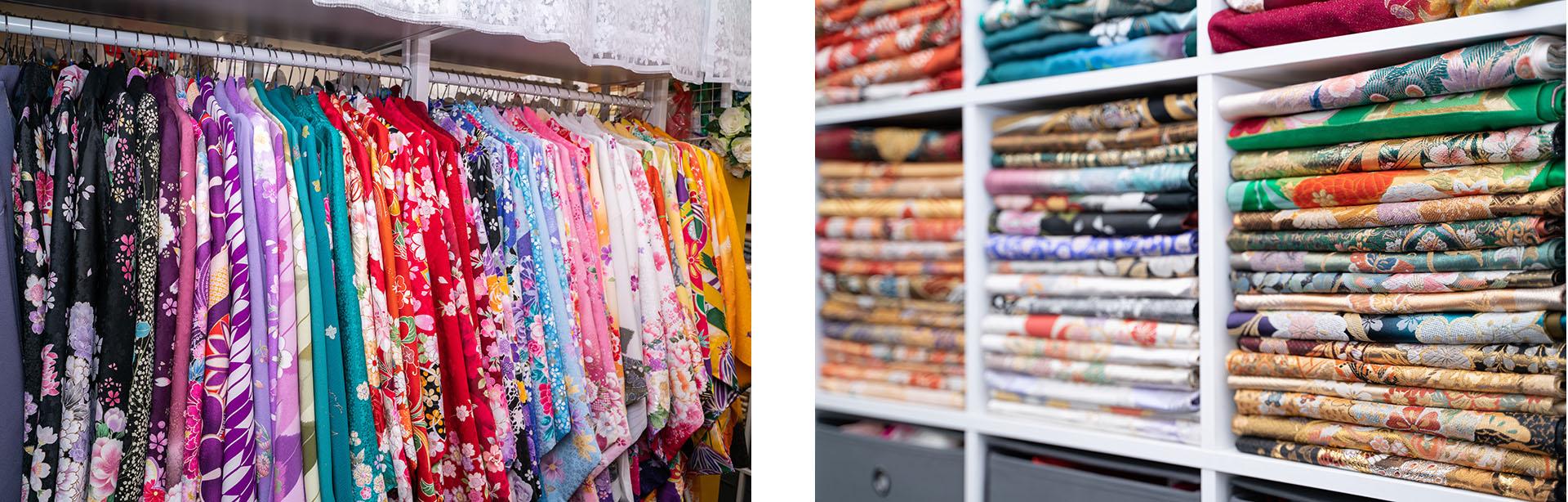 種類豊富な着物と帯がレンタル可能