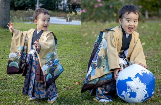七五三紺色袴の3歳男の子