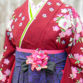 赤着物と紫色の保育士袴写真